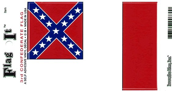 """Confederate Flag (3rd) - 3.5"""" x 5"""" - High Gloss UV Coated Laminate Water Proof Sticker DECAL"""