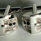 Unique Tie Bling Novelty Suit Cufflinks cubic zirconia Sapphire Belt Buckle New