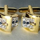 Wedding euro cufflinks Sapphire 24K CZ stones two toned free shipping worldwide