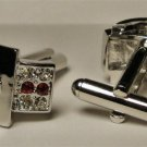 Cufflinks groom dress euro Ruby CZ stones two toned free shipping worldwide new
