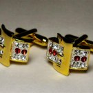 Groom dress euro cufflinks 24K Ruby CZ stones two toned free shipping worldwide