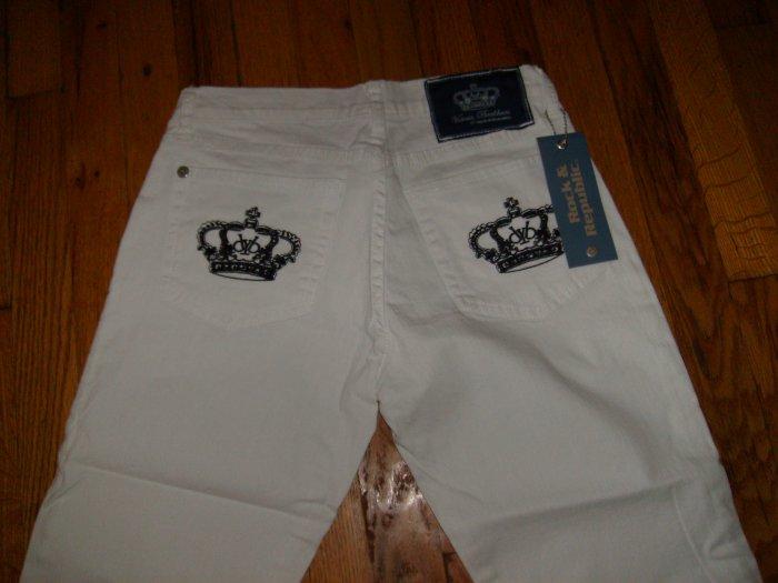 Victoria Beckham Crystal Crown Jeans, white w black crown/27