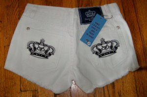 Victoria Beckham Crystal Crown Jean shorts, white w black crown/26