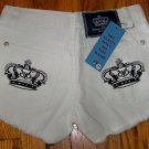 Victoria Beckham Crystal Crown Jean shorts, white w black crown/27