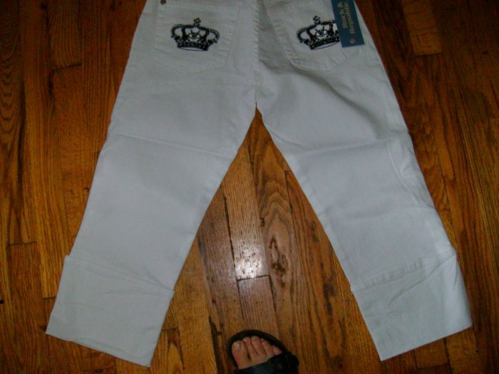 Victoria Beckham Crystal Crown Jeans, white w black crown/28
