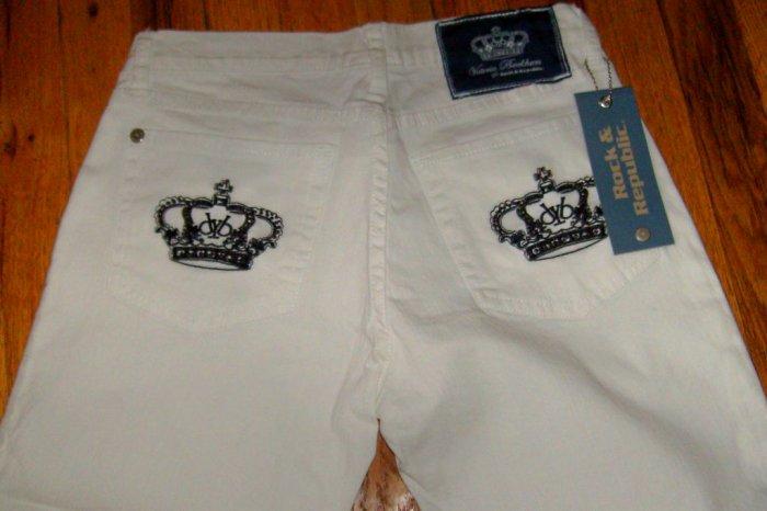 Victoria Beckham Crystal Crown Jeans, white w black crown/29