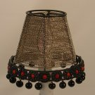 "4"" Stainless Steel Chain with Decorative Border in Black & Red  Clip On Chandelier Lamp Shade"