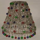 "4"" Metal Swirl Clip On Chandelier Lamp Shade with Tri-Colored Glass Beads"