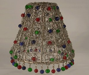 """4"""" Metal Swirl Clip On Chandelier Lamp Shade with Tri-Colored Glass Beads"""