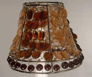 "4"" Brown Leaf Clip On Chandelier Lamp Shade with Hand Blown Glass Beads"