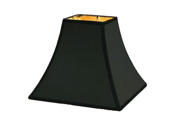 "5"" Black Parchment - Square Bell Hard Back - Lamp Shade w/ Gold Lining"