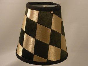 """6.5"""" Black & Taupe Silk Ribbon - Empire Lamp Shade"""