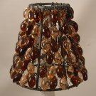 "4"" Amber & Peach Bead - Clip on Chandelier Lamp Shade"