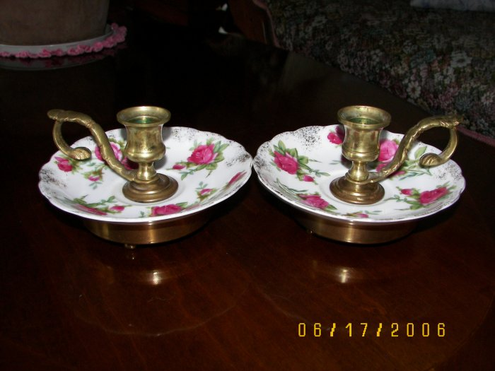 SET OF CANLE HOLDERS BRASS HOLDER WITH GLASS