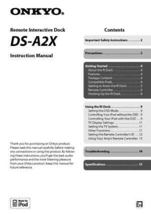 Onkyo DSA3 DS-A3 DSA-3 Operating Guide User Instructions