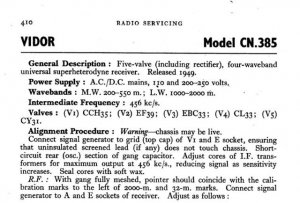 Vidor CN385 CN-385 Vintage Wireless Service Information
