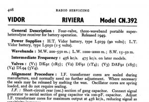 Vidor CN392 CN-392 Riviera Vintage Wireless Service Information