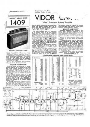 Vidor CN440 CN-440 Gem Vintage Wireless Service Information