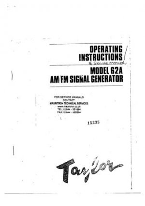 Taylor 62A Operating Guide