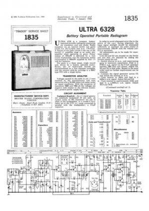 Ultra 6328 Radiogram Repair Schematics etc