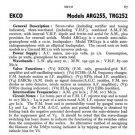 Ekco ARG255 ARG-255 RadiogramTechnical Repair Schematics etc