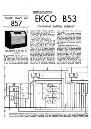 Ekco B53 B-53Technical Repair Schematics etc