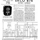 Ekco B74 B-74Technical Repair Schematics etc