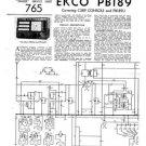 Ekco PB189 PB-189Technical Repair Schematics etc