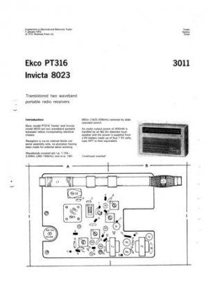Ekco PT316 PT-316Technical Repair Schematics etc