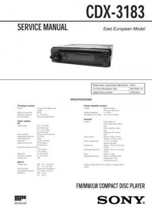 Sony CDX3183 CDX-3183 Service Manual