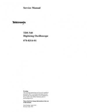 Tektronix TDS540 TDS-540 Service Manual