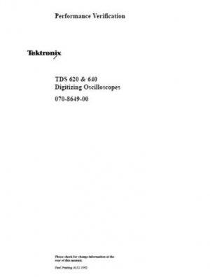 Tektronix TDS640 TDS-640 Performance Manual