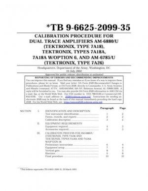 Tektronix 7A18 Calibration Procedure
