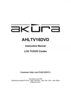 Akura AHLTV15DVD Television Operating Guide