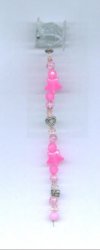 Pink Hand beaded hair clip