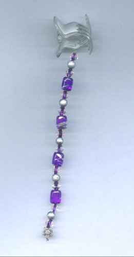 Silver and purple hand beaded hair clip