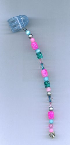 Pink and teal hand beaded hair clip