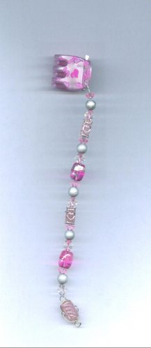 Pink glass hand beaded hair clip