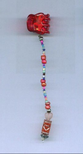 Red and multi color hand beaded  baby size hair clip