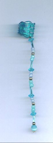Blue hand beaded baby size hair clips