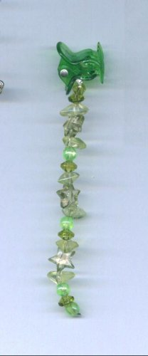 Green hand beaded baby size hair clips