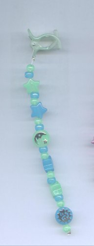Blue and green hand beaded glow in the dark hair clip