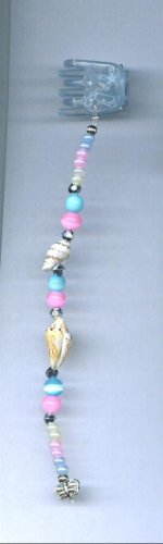 Pink and blue with sea shells, hand beaded hair clips