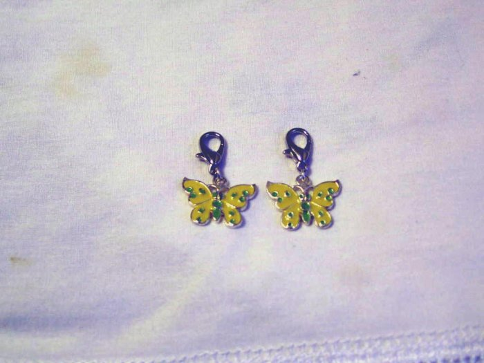 Yellow butterfly shoe charms
