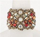 Handmade Beaded Manchette Ring (Red)