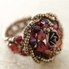 Handmade Beaded Rote Rose Ring