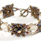 Handmade BROWN RIVOLI SQUARE DANCE Bracelet
