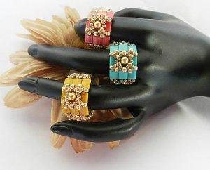 1- Handmade Beaded Tila Tiles Ring