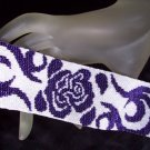 Handmade Midnight Rose Peyote Bracelet Cuff