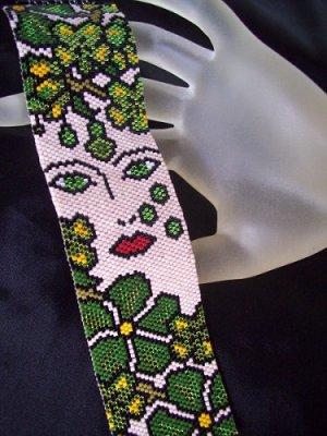 Handmade Beaded Poison Ivy Peyote Bracelet Cuff